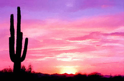 Painting - Arizona Sunset  by Bob and Nadine Johnston