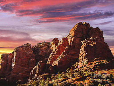 Photograph - Arizona Sunset Sedona Mountain by Bob and Nadine Johnston