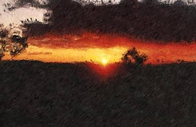 Digital Art - Arizona Sunset_impressionist Inspired Digital Painting by Asbjorn Lonvig