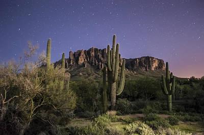Arizona Superstition Mountains Night Art Print by Michael J Bauer