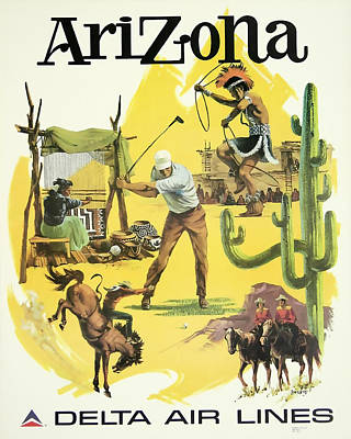 David Wagner Mixed Media - Arizona Travel Delta Airlines by David Wagner
