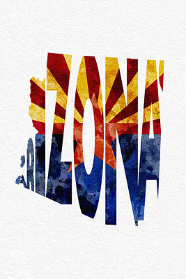 Digital Art - Arizona Typographic Map Flag by Ayse Deniz