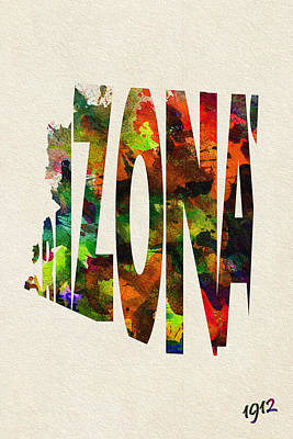 Painting - Arizona Typographic Watercolor Map by Ayse Deniz