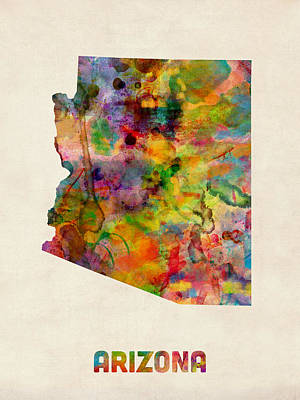 Arizona Watercolor Map Art Print by Michael Tompsett
