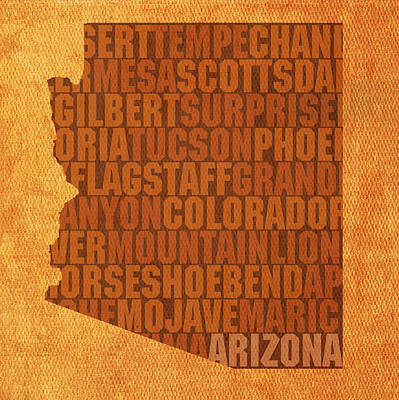 Flagstaff Wall Art - Mixed Media - Arizona Word Art State Map On Canvas by Design Turnpike