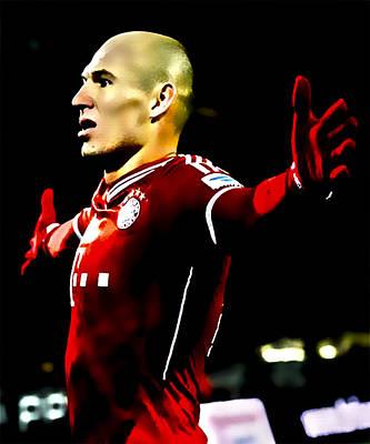 Bayern Digital Art - Arjen Robben by Brian Reaves