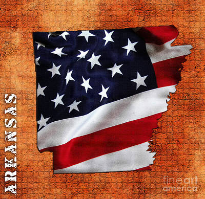 Arkansas American Flag State Map Art Print by Marvin Blaine
