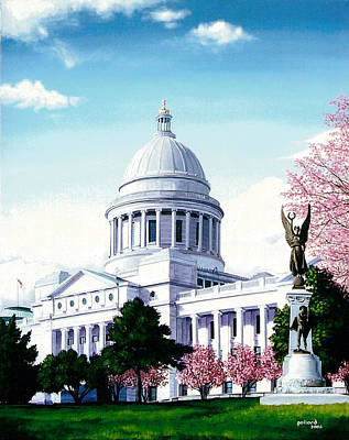 Arkansas Capitol Blossoms Art Print