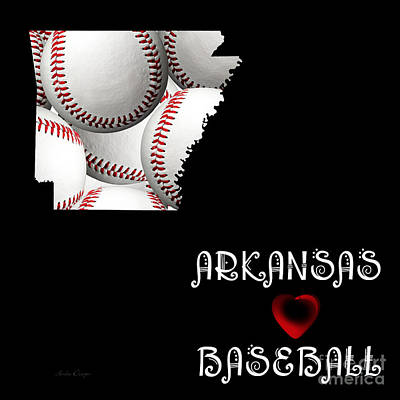 Digital Art - Arkansas Loves Baseball by Andee Design