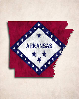 Arkansas Map Art With Flag Design Print by World Art Prints And Designs