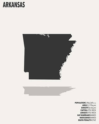 Arkansas State Map Digital Art - Arkansas Minimalist State Map With Stats by Finlay McNevin