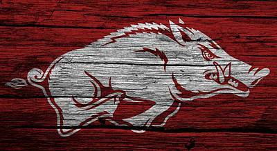 Ncaa Mixed Media - Arkansas Razorbacks On Wood by Dan Sproul