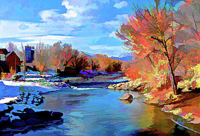 Digital Art - Arkansas River In Salida Co by Charles Muhle