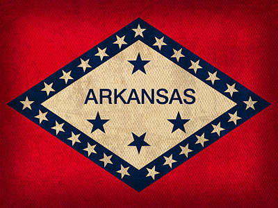 Hot Mixed Media - Arkansas State Flag Art On Worn Canvas by Design Turnpike