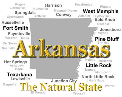 Clarksville Photograph - Arkansas State Pride Map Silhouette  by Keith Webber Jr