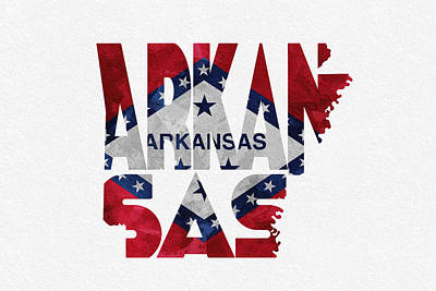 Abstract Map Mixed Media - Arkansas Typographic Map Flag by Ayse Deniz