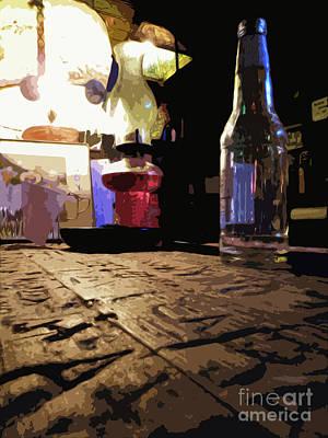 Reflections On Bottle Photograph - Arkey Blues Bar Top by Joe Jake Pratt