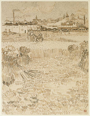 Vincent Van Gogh Drawing - Arles  View From The Wheatfields Vincent Van Gogh by Litz Collection