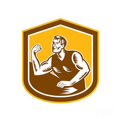 Wrestler Digital Art - Arm Wrestling Champion Woodcut Shield by Aloysius Patrimonio