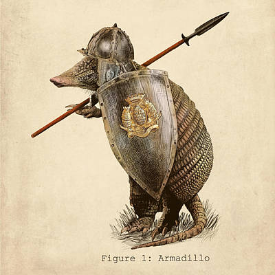 Shield Drawing - Armadillo by Eric Fan