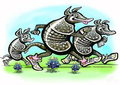 Jogging Digital Art - Armadillo Family by Kevin Middleton