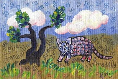 Armadillo Painting - Armadillo Love by Linda Mears