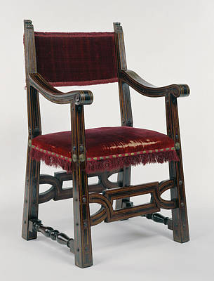 Armchair Unknown Italy, Europe About 1620 - 1630 Mahogany Print by Litz Collection