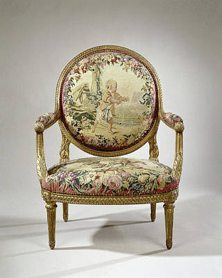 Armchair Upholstered With Tapestry With A Boy With Birds Art Print