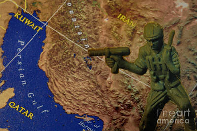 Armed Services Photograph - Armed Toy Solider With Middle East Map by Amy Cicconi