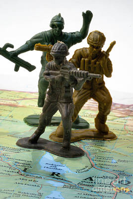 Armed Toy Soliders On Iraq Map Art Print