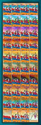 Blue Grapes Digital Art - Armenian Alphabet Seasons by Bedros Awak