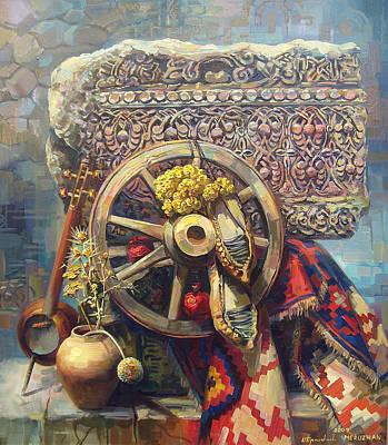 Armenian Painting - Armenian Cross - Stone With A Wheel by Meruzhan Khachatryan