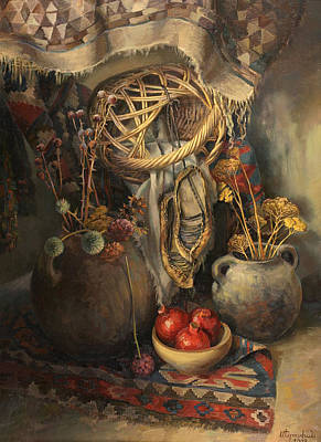 Attribute Painting - Armenian Still-life With Basket by Meruzhan Khachatryan