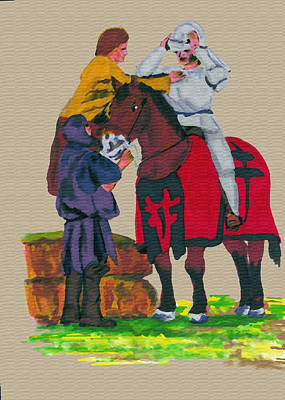 Gail Daley Wall Art - Painting - Arming The Knight by Gail Daley