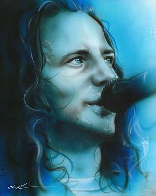 Pearl Jam Painting - Eddie Vedder - ' Arms Raised In A V ' by Christian Chapman Art
