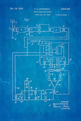 Armstrong Fm Radio Patent 1933 Blueprint Art Print by Ian Monk