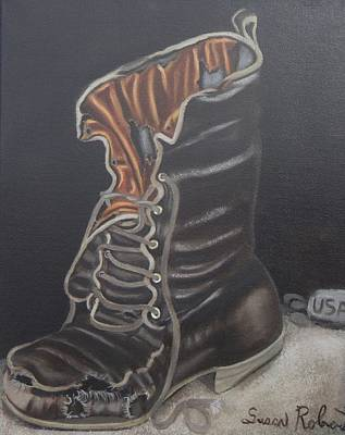 Painting - Army Boot Retired  by Susan Roberts