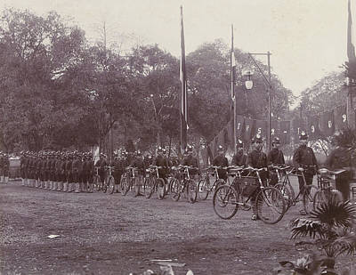 Bike Drawing - Army Corps With Bikes In The Dutch East Indies by Artokoloro