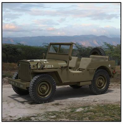 Army Jeep John Vilardi Art Print