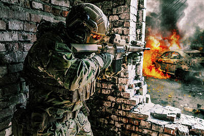 Photograph - Army Soldier In Battle Action by Oleg Zabielin