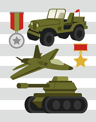 Painting - Army Trucks by Tamara Robinson