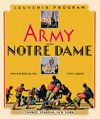 Army Vs Notre Dame 1932 Football Program Art Print by Big 88 Artworks