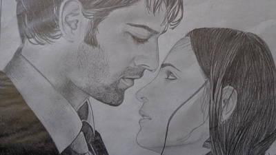 Arnav And Kushi Pencil Sketch Original by Anu Swarna