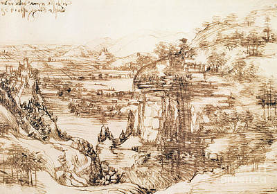 Signature Drawing - Arno Landscape by Leonardo da Vinci