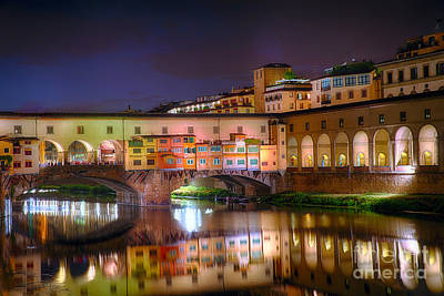 Arno River Night Reflections At Ponte Vecchio Art Print by George Oze