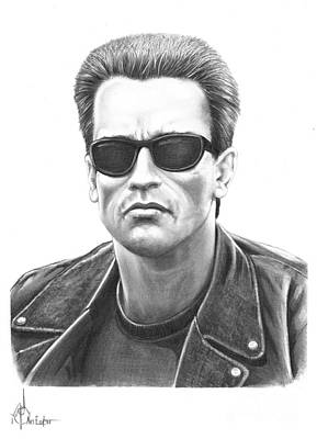 Famous People Drawing - Arnold Schwarzenegger Terminator by Murphy Elliott