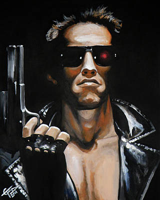 Tom Carlton Painting - Arnold Schwarzenegger - Terminator by Tom Carlton