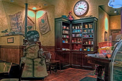 Art Print featuring the photograph Aromas Coffee Shop Newport News Virginia by Jerry Gammon