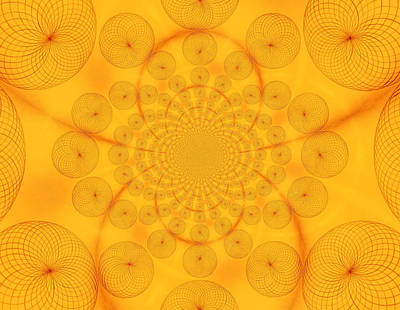 Raw Sienna Photograph - Around The Sun-abstract Circles by Tom Druin