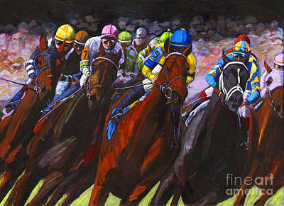 Kentucky Derby Painting - Around The Turn They Come by Thomas Michael Meddaugh